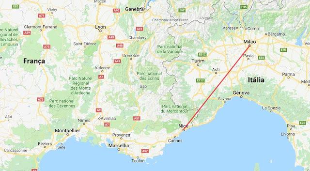 Mapa da viagem de Milão a Nice