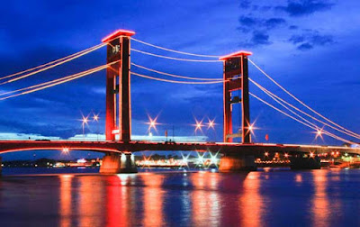 Ampera Bridge at Night : Landmark of Palembang City