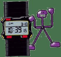 Historia de los relojes. Dibujo de muñeco tocando un reloj digital