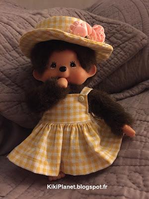 Nouveau vêtement : un joli chapeau fait main pour Kiki ou Monchhichi, couture, handmade