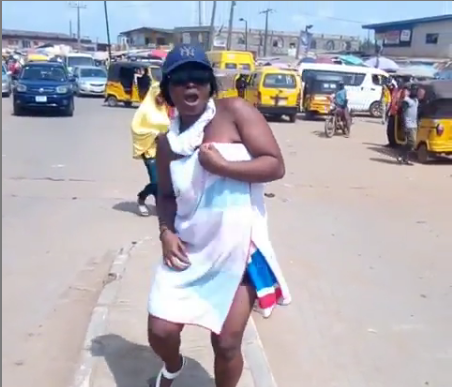 "Lady Do Peter Okoye's ""One More Night Challenge"" On Lagos Road As She Twerks"
