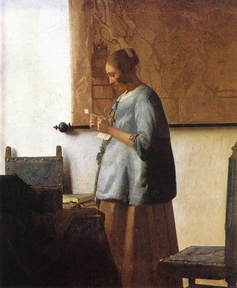 Mulher de Azul Lendo uma Carta - Vermeer, Jan e suas principais pinturas