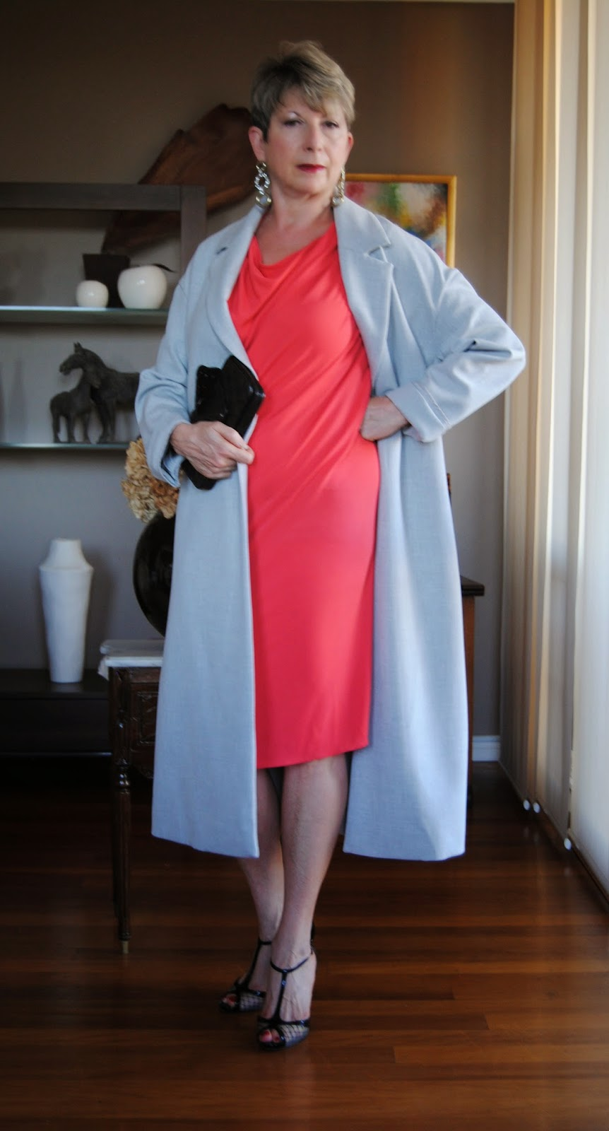 grey slick coat is great with contrasting colours