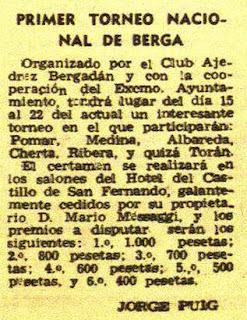 Anuncio en la revista DESTINO sobre el I Torneo Nacional de Ajedrez Berga 1950