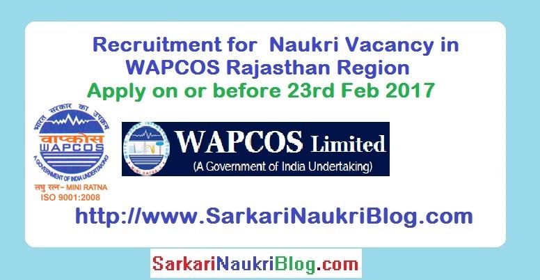 Naukri Vacancy Recruitment WAPCOS Rajasthan