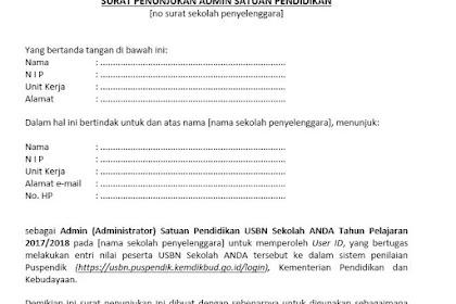 Contoh Surat Penunjukan Admin USBN yang Baik