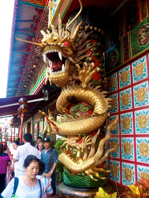 Golden dragon on exterior of Jumbo Kingdom floating restaurant near Aberdeen, Hong Kong