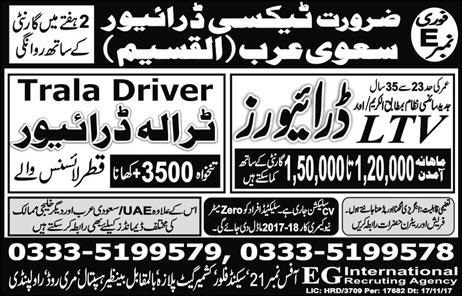 Taxi Drivers Jobs in Saudi Arabia 18 Jan 2018
