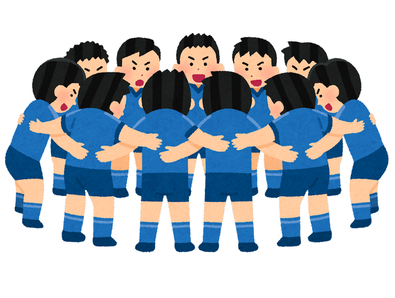 円陣を組む人たちのイラスト(男性スポーツ選手) | かわいいフリー ...