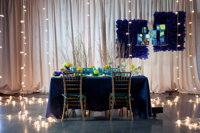 art+modern+wedding+blue+yellow+starry+night+van+gogh+invitations+centerpiece+table+reception+bride+bridal+gown+black+white+hipster+unique+offbeat+harper+point+photography+6 - A Starry Night