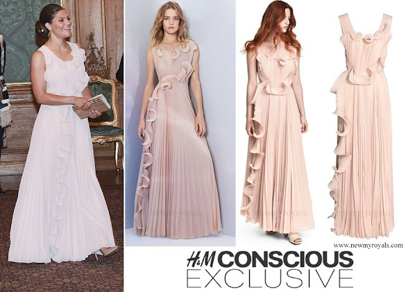 Crown Princess Victoria wore H&M Conscious Exclusive Pleated Long Dress