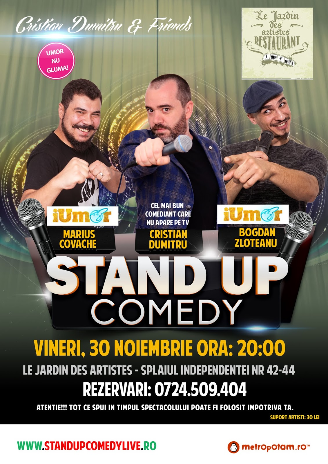 Stand-Up Comedy Vineri, 30 Noiembrie Bucuresti