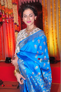 Actress Model Shilpa Reddy Exclusive Stills in Blue Saree at Vijay Karan Aashna Wedding  0051.JPG