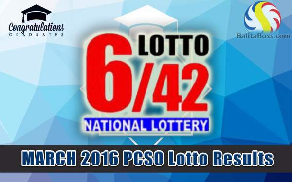Image: March 2016 PCSO Lotto 6/42