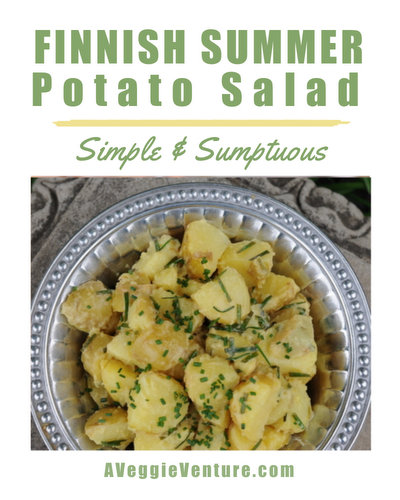 Finnish Summer Potato Salad, ♥ AVeggieVenture.com, just new potatoes and a simple vinaigrette. No Mayo. Vegan. Paleo. Easy. Nordic.