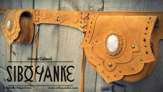 Leather Utility Belt+Festival Belt+Gemstones+Labradorite+Moonstone+Sibo Yanke+Waist Bag