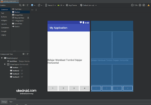 Hasil Tampilan Button Sejajar Horizontal Android Studio
