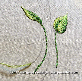 Society Silk Violets: two violet leaves embroidered with antique silk floss