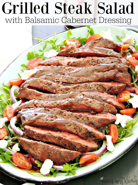Grilled Steak Salad with Balsamic Cabernet Dressing -  Bring those smoky grill flavors to a healthy and delicious salad that is perfect for lunch or dinner. From www.bobbiskozykitchen.com