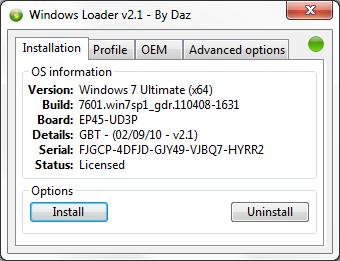 windows 7 loader activator 2.0.9 by daz x86/x64