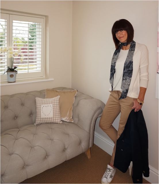 My Midlife Fashion, Hush Homeware Cashmere Boyfriend jumper, John lewis reptile skinny scarf, ashiana jewellery, zara double breasted jacket, mango tabbed suit trousers, golden goose superstar trainers