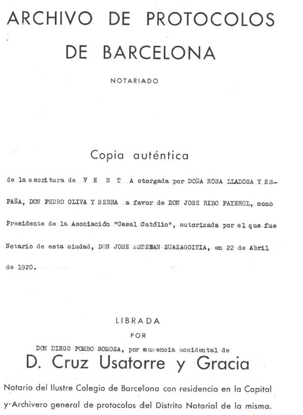 Recorte 1 de la escritura de compra del inmueble del Casal Catolic