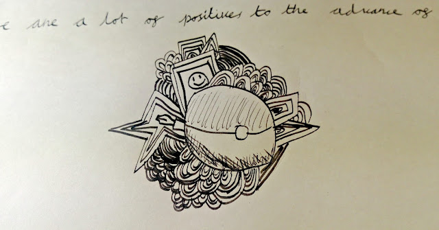 Child's doodle, including a pokeball and a cartridge pen.
