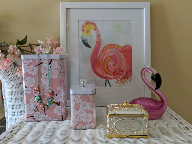 Flamingos and cherry blossom room styling