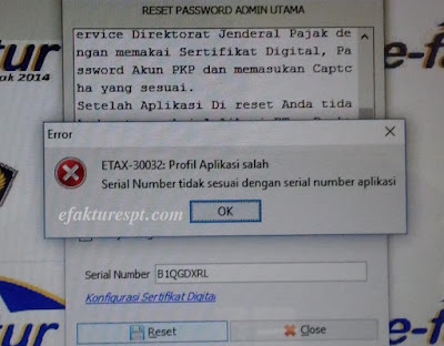 Error ETAX-30032 Saat Reset Password Admin Utama