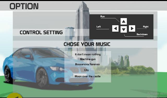 Tampilan Option permainan simulasi mobil