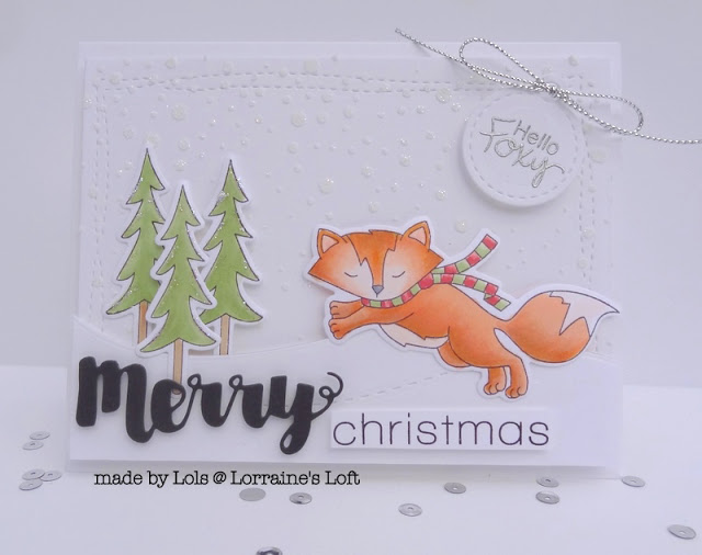 Merry Christmas Fox Card by Lorraine's Loft | Fox Hollow Stamp set by Newton's Nook Designs #newtonsnook