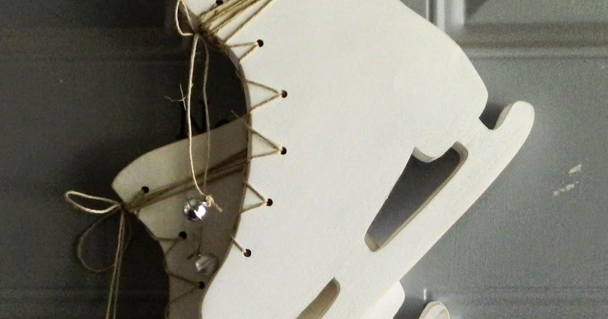 laura's frayed knot: Ice skates door decoration wood craft