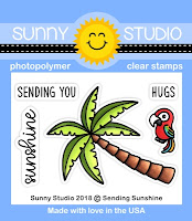 Sunny Studio Stamps: Sending Sunshine Palm Tree & Parrot Mini 2x3 Photopolymer Clear Stamps
