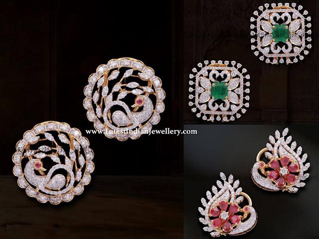 peacock diamond studs