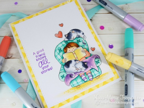Cozy Reading with Cats Card by Nina-Marie Trapani | A Cozy Day In Stamp set by Newton's Nook Designs #newtonsnook