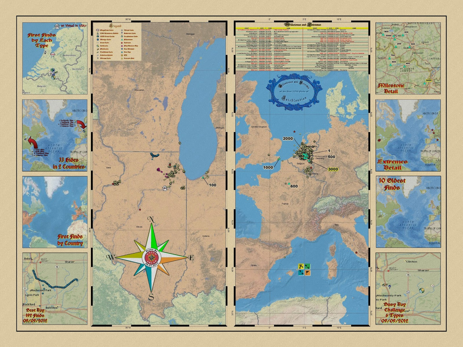 each map contains a large center map and then a variety of smaller maps on the outside edges what are some of the different categories people like you to