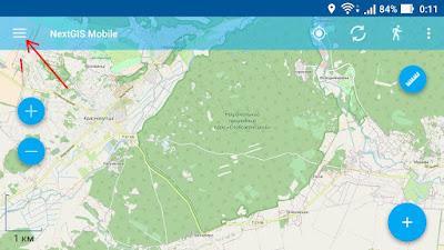 Интерфейс программы NextGIS Mobile. как открыть список слоев