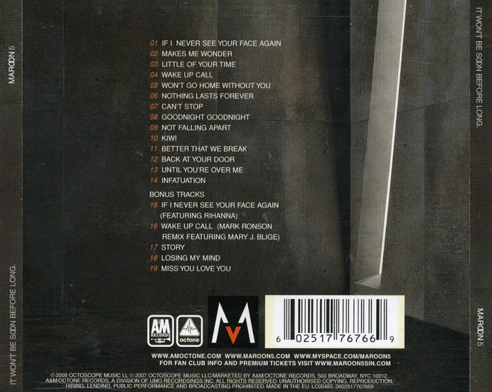 Maroon 5 It Wont Be Soon Before Long 2007 FLAC