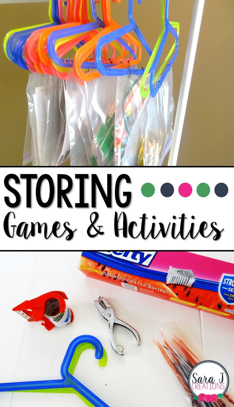 An easy way to store games and activities!  Perfect for the classroom or even in your home.  No more pieces all over or wasted space.  Do you already have these supplies laying around?