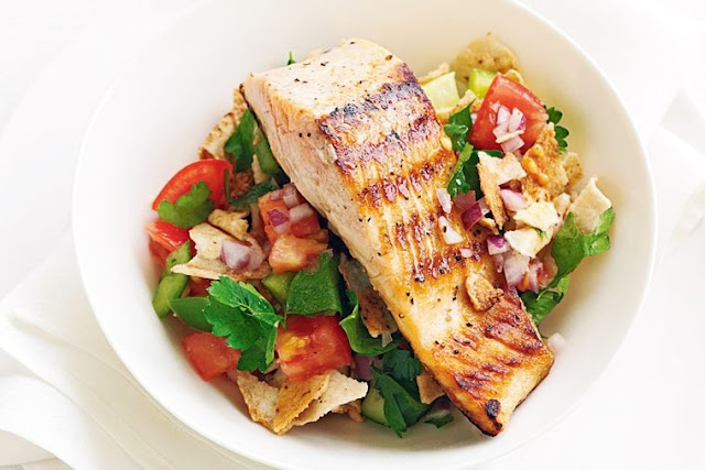 stick frypan with oil and heat over medium Grilled salmon with fattoush recipe