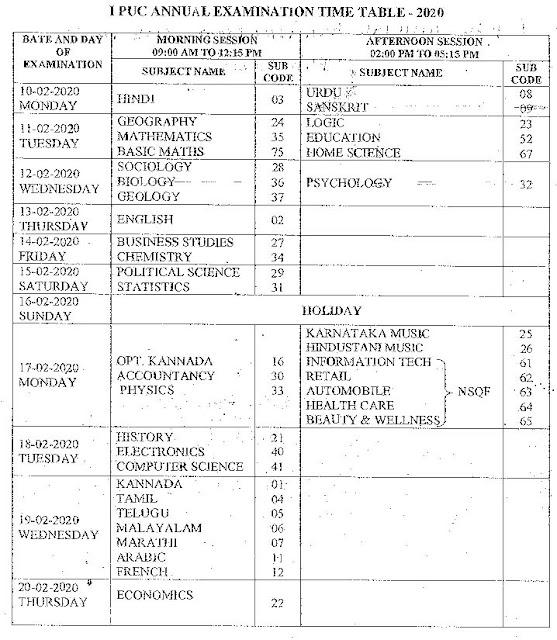 Karnataka 1st PUC Exam Time Table February 2020
