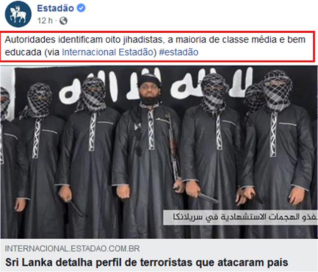 """Terrorismo no Sri Lanka foi cometido por pessoas """"bem educadas"""""""