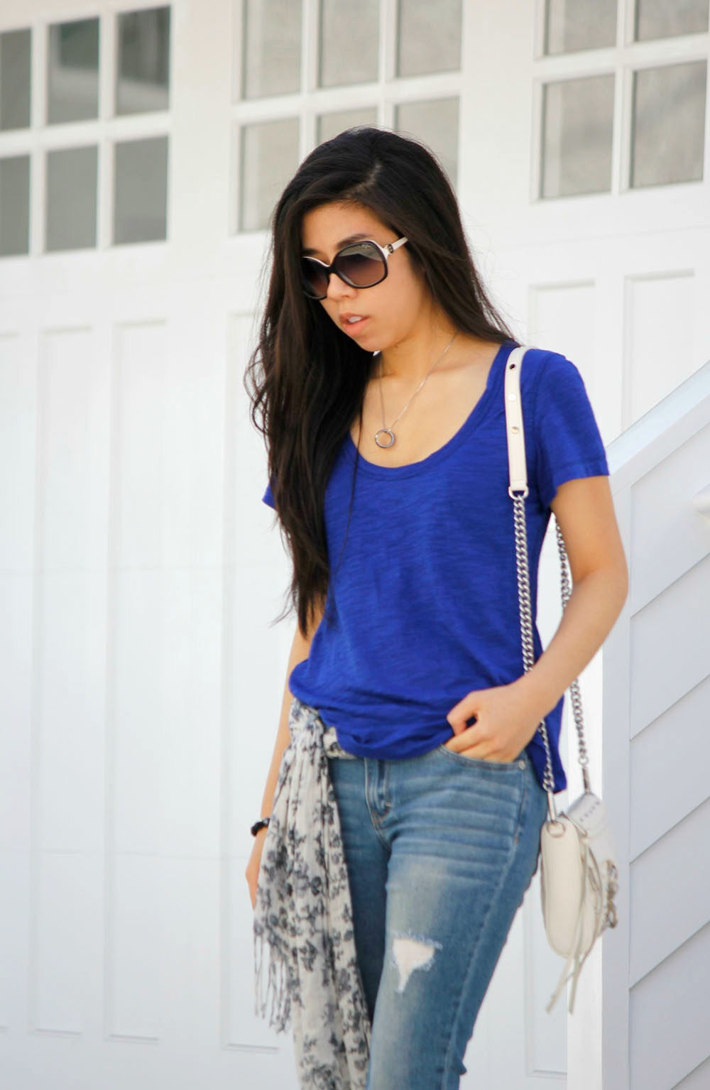Scarf Around the Waist _ Top Half Tuck into Jeans _ Skinny Ripped Jeans Fashion _ Adrienne Nguyen _ Invictus