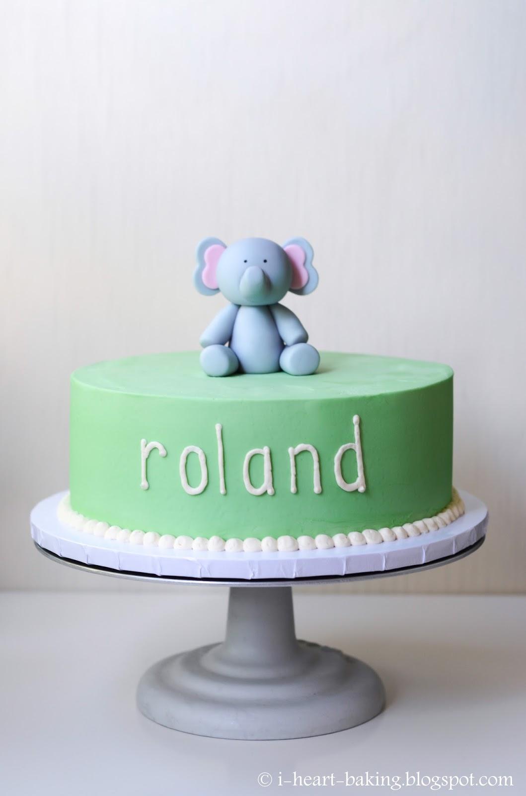 I Heart Baking Elephant Birthday Cake