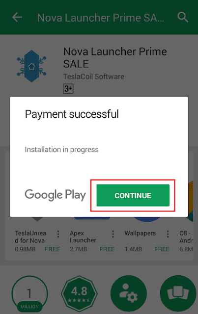 pembayaran sukses, aplikasi akan diinstal