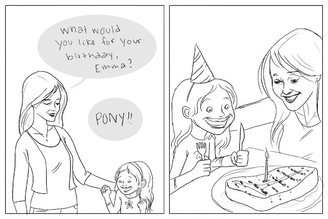 Funny Pony For My Birthday Cartoon Picture