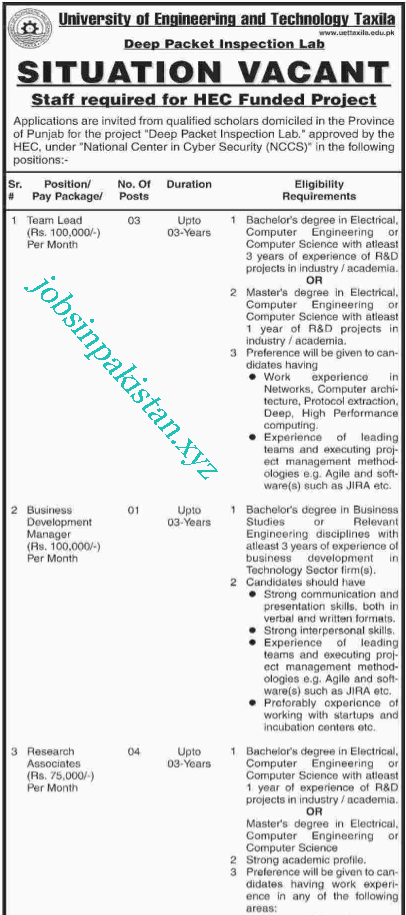 Advertisement for UET Taxila Jobs 2018