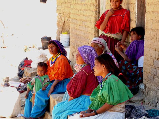 Image: Huichol women and children, on Wikipedia