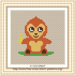 BABY MONKEY, FREE AND EASY PRINTABLE CROSS STITCH PATTERN