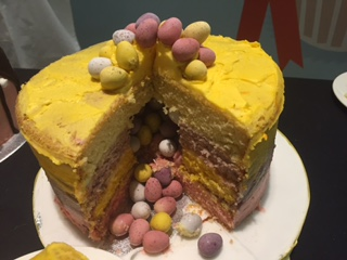Easter showstopper mini egg ombre pinata cake